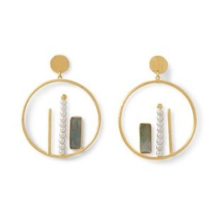 14K Gold Plate Gemstone & Cultured Pearl Earrings